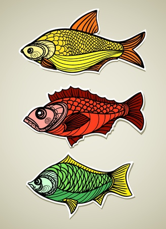 crucian: Fishes set Illustration