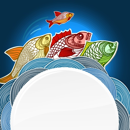 rumor: Fish menu template. Ready for a text Illustration