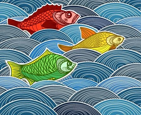 fische: Gruppe der Fische auf Wellen
