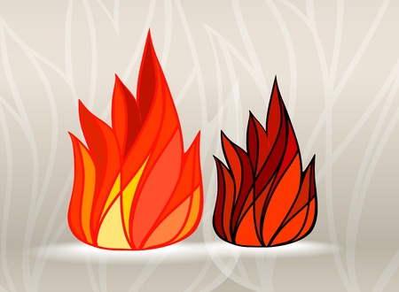 stained glass: Stained glass style fire set Illustration