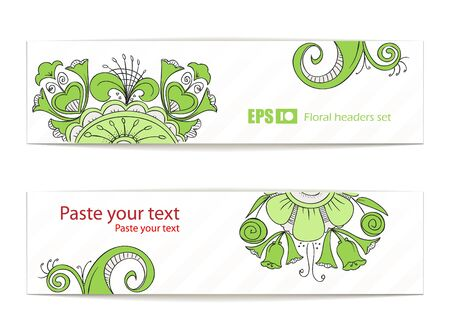 Green floral ornament banners. Ready for your text Vector