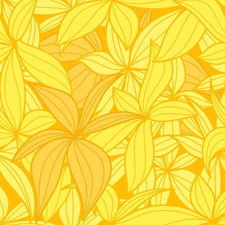 Yellow leaves seamless background Vector