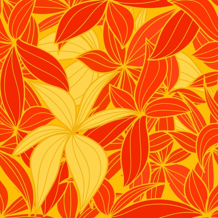 Yellow and red leaves seamless background Vector