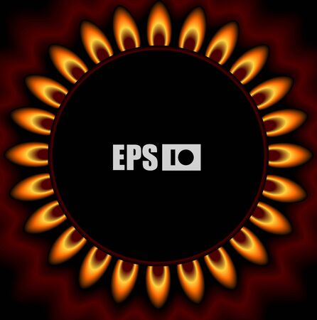 gas stove: Background of flaming fire. Ready for a text Illustration