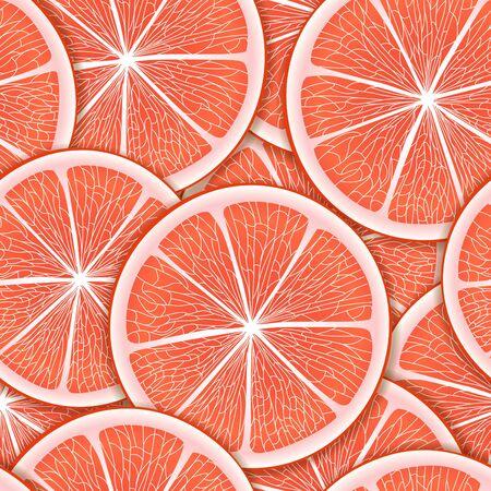 Grapefriut slice seamless background Vector