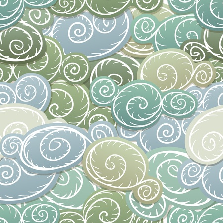 grey sky: Seamless background of green curled abstract clouds