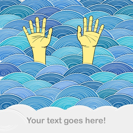 Сurled abstract waves and human hands Stock Vector - 11372076