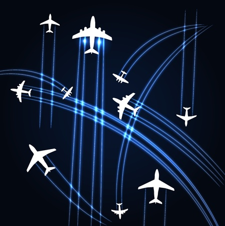 commercial airline: Airplanes trajectories background