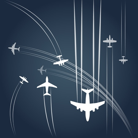 cargo plane: Transport and civil airplanes paths  Illustration