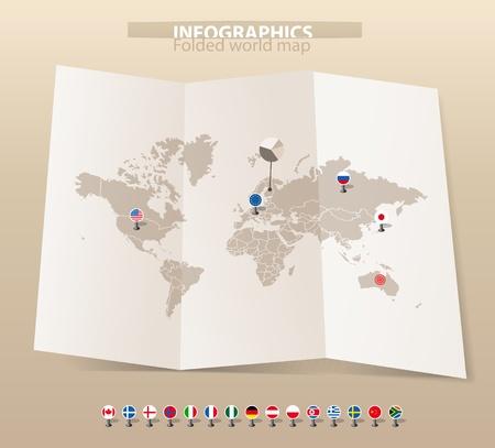 banderas del mundo: Mapa del mundo antiguo en el mapa y las banderas de diferentes países