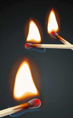 Flaming match set Stock Vector - 11333186