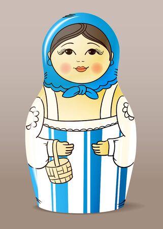 muñecas rusas: Tradicionales hechos a mano pintada de muñecas de madera barnizada. Matrioska