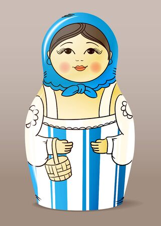 varnished: Traditional hand-drawn painted varnished wood doll. Matrioska
