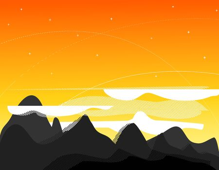 Orange picture with mountains, clouds and sunrise Vector