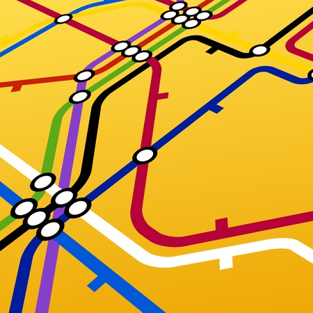 Perspective background of metro scheme on yellow Vector