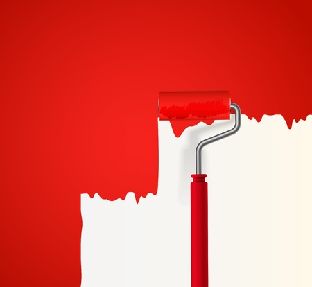 paint roller: Background of red roller painting the wall Illustration