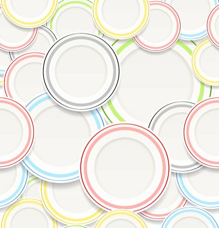 duration: Seamless background of White plates with colorful elements.