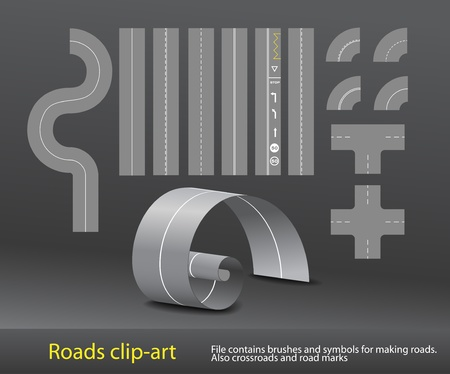 road marking:  Vector road elements set