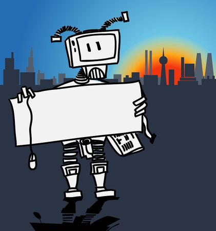 Robot holding a blank information board in a modern city Vector