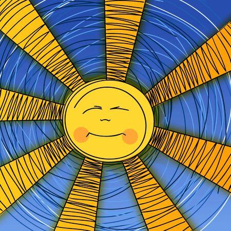 Decorative illustration of dreaming sun Vector