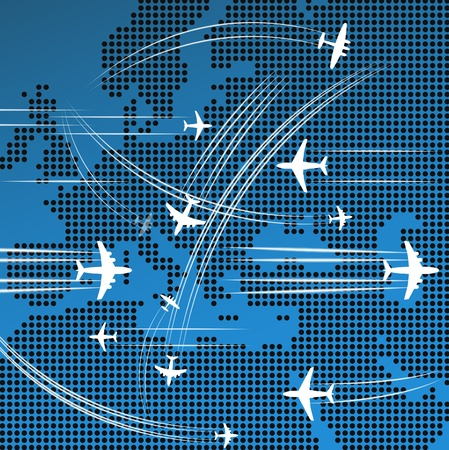Airplanes flying over the abstract map of europe Stock Vector - 11333185