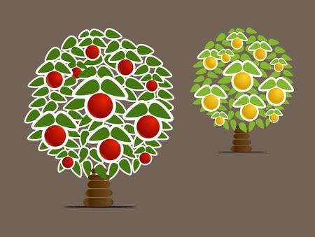 abstract fruit: �rboles abstractos de frutas Vectores