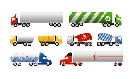 Các loại xe tải. Bộ sưu tập vector Hình minh hoạ
