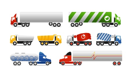 box weight: Different types of trucks. Vector collection