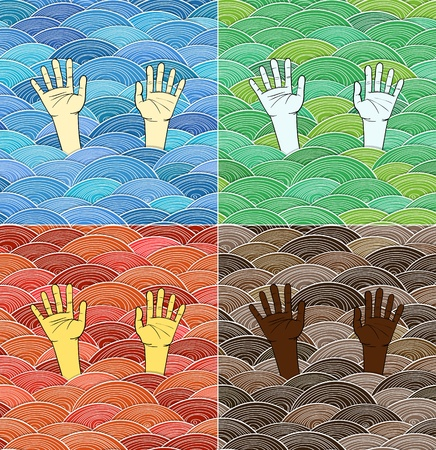 abstract colorful waves and human hands of different races Vector