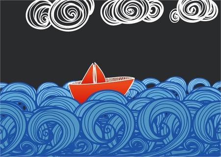 종이 배는 푸른 파도에 떠 일러스트