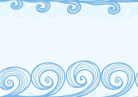 Seamless background of hand-drawn sea waves Vector