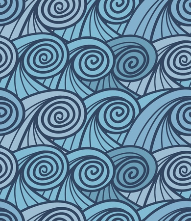 Seamless background of curled abstract blue waves    Vector