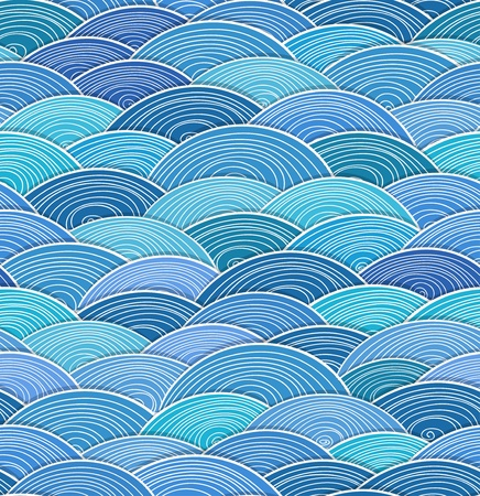 Seamless background of curled abstract blue waves Illustration