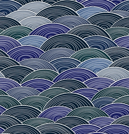 Seamless background of hand-made waves Vector