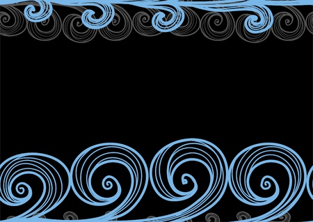 Seamless background of hand-drawn sea waves on black Stock Vector - 11371791