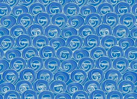 river water: Seamless background of hand-drawn blue sea waves