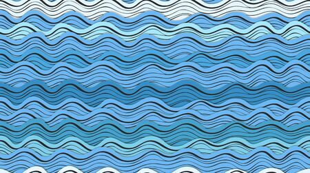 ocean cartoon: Seamless background of abstract blue waves Illustration
