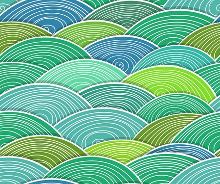Seamless background of curled abstract green waves Vector