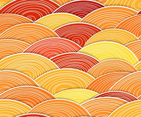 Seamless background of curled abstract orange waves Vector