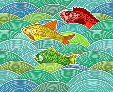crucian carp: swimming fish vector composition