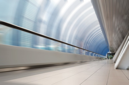 futuristic interior: Movement through the long corridor