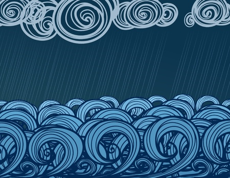 Seamless background of hand-drawn sea waves  photo