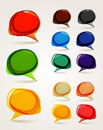 word art: Abstract hand-drawn talking bubbles set