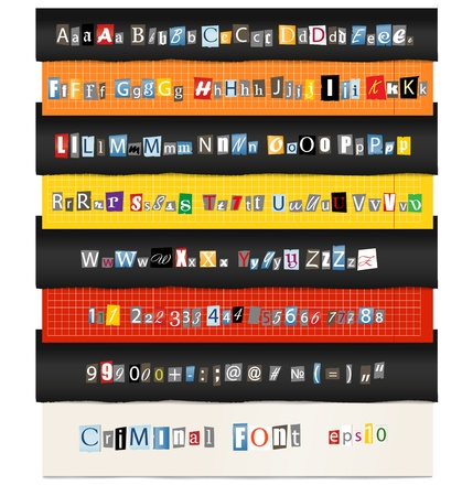 blackmail: Different colors vector letters from newspaper and magazines collection  Illustration