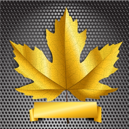 Maple leave with golden banner. Ready for a text  Vector
