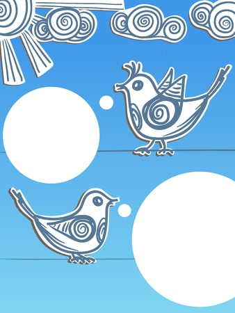 curve claw: Speaking birds with blank speech bubbles. Ready for a text