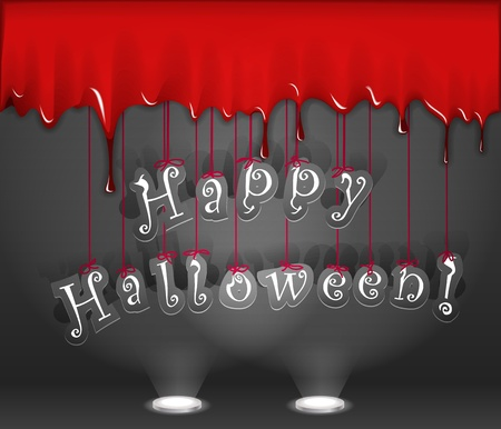 Happy Halloween. Celebration poster of bloody wall and paper letters Vector