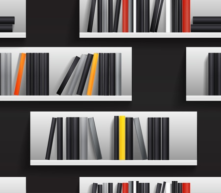 shelf with books: Seamless background of library shelves