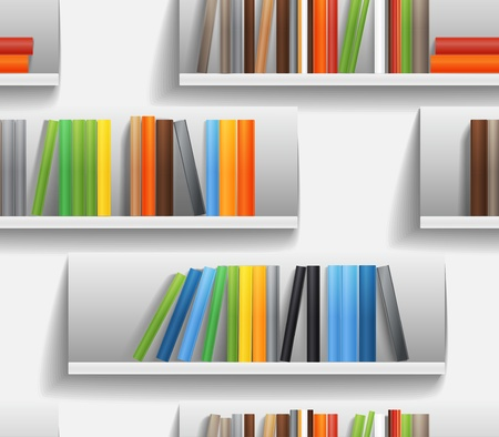 Seamless background of library shelves with color books Vector