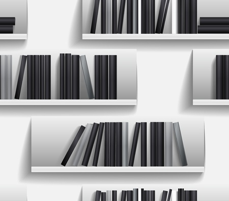 Seamless background of library shelves  Stock Vector - 11430736